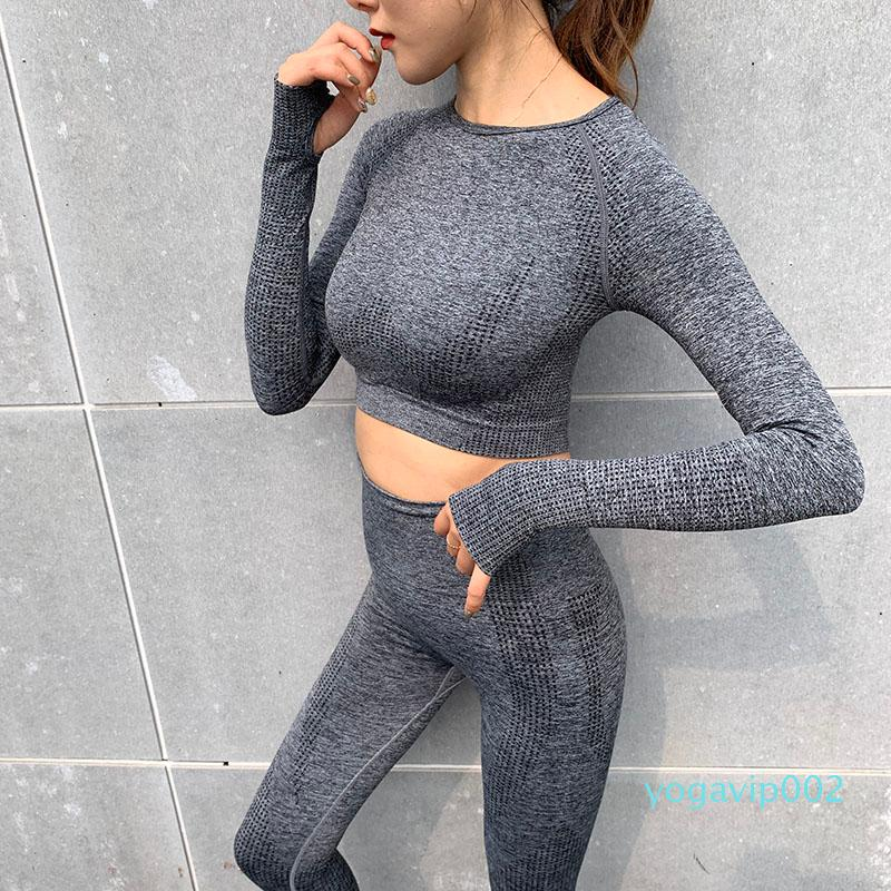 Sport Fitness Seamless Yoga Set Suit 2pc Workout Clothes Gym for Women Leggings Long-sleeved Vital Tracksuit High Waist Pants