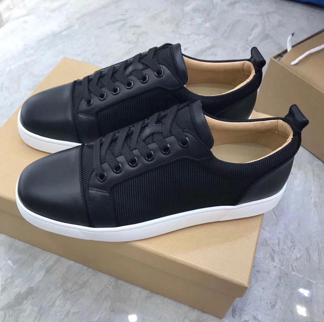 Ucuz Lüks Siyah Naylon Deri konumundadır Orlato Sneakers Ayakkabı, Şık Kırmızı Alt Erkekler Tasarımcı Konfor Günlük Ayakkabılar Chaussures Homme