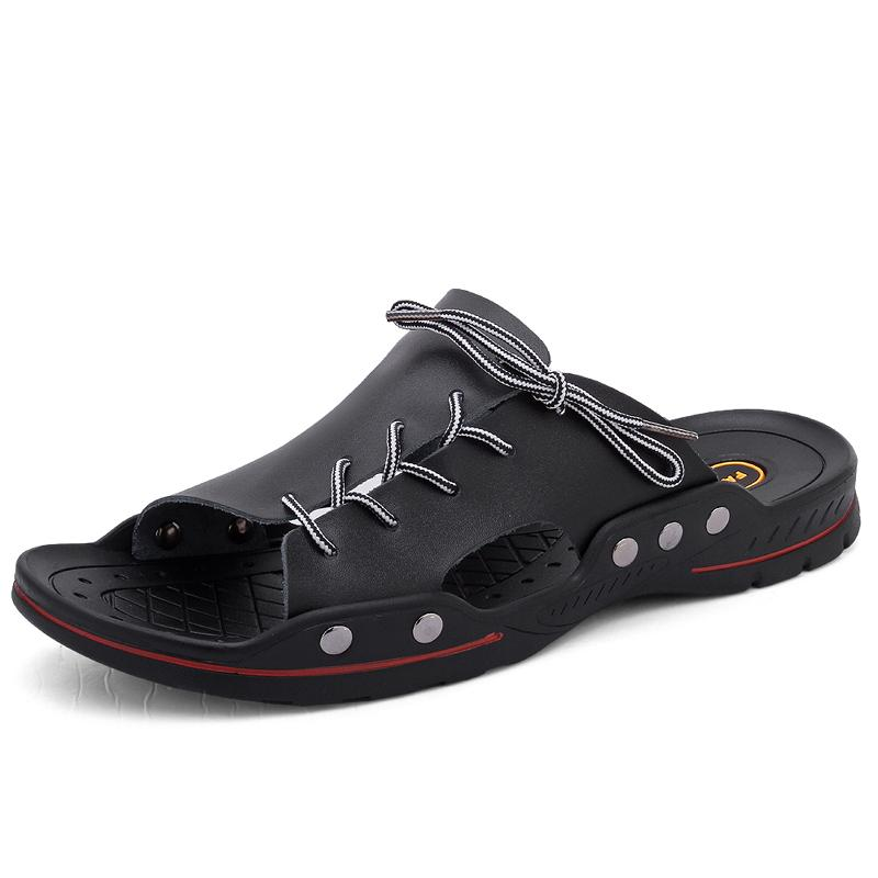 YEINSHAARS Men Casual Sandali estate Mens pantofole Rivet britannico Man sandali della spiaggia Vera Pelle pigro Pedal Flip Flop EU38-48