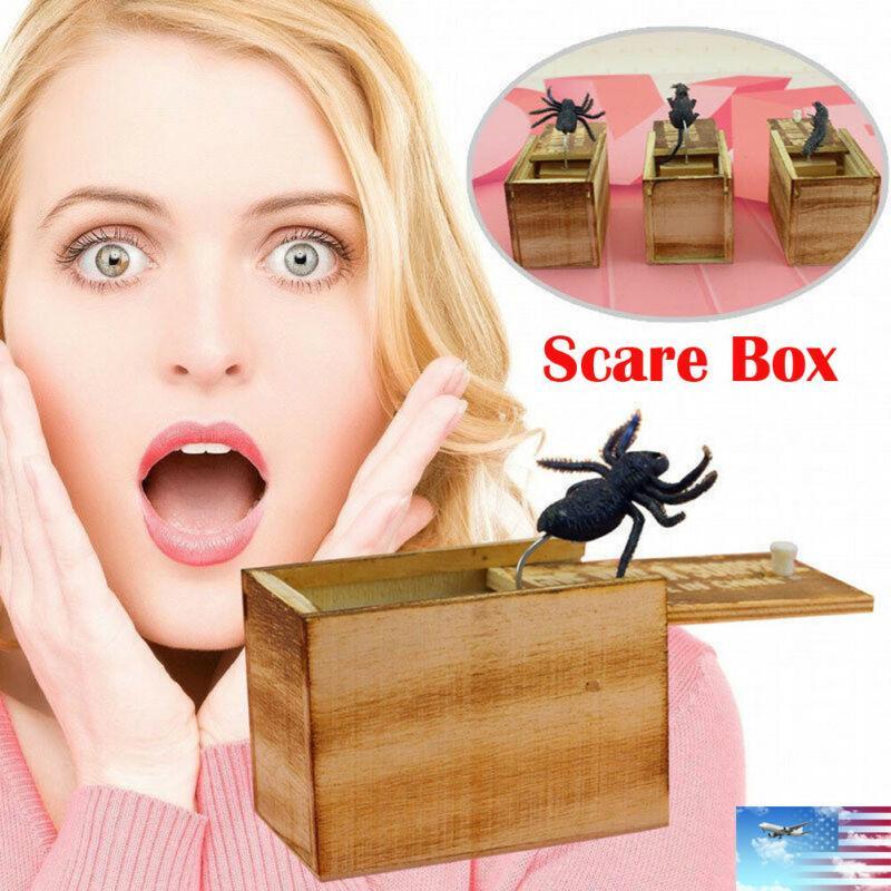 HOT مضحك الخوف صندوق خشبي المزحة العنكبوت المخفية في حالة نوعية كبيرة المزحة-خشبية Scarebox اهتمام اللعب خدعة نكتة لعب هدية