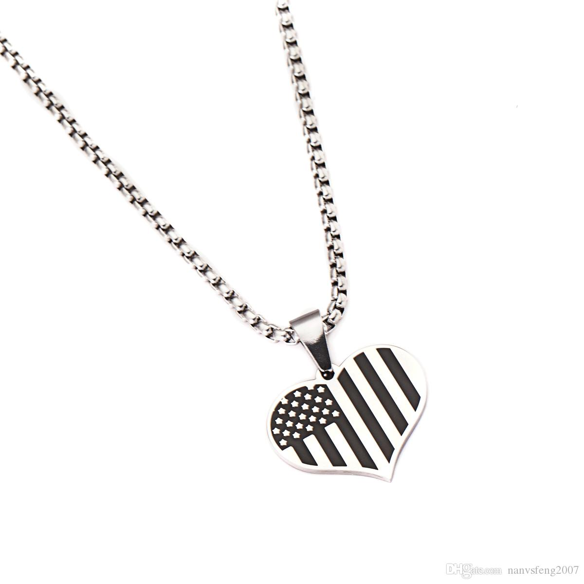 Trendy New Fashion Jewelry Love Heart Design Flag Of The USA Design Pendant Necklace Gift For Women Girl