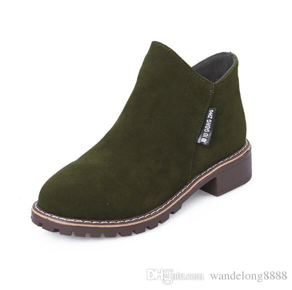Free shipping autumn and winter new Korean version of Martin boots female side zipper boots women's low with low tube student women's boots6