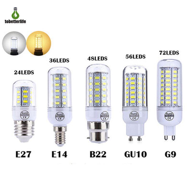 LED Mısır Ampul E27 E14 B22 G9 GU10 110 V 220 V 24 36 48 56 72 leds Avize Mum Ev Dekorasyon Ampoule Için LED Işık