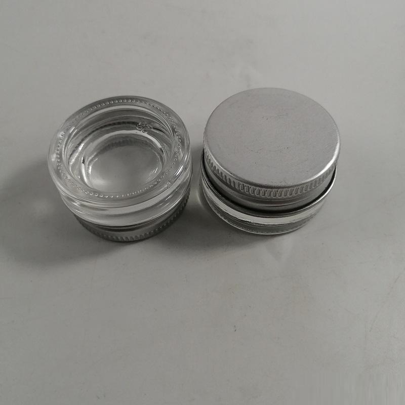 100 5g pot de crème en verre de haute qualité avec couvercle en aluminium, 5ML large récipient cosmétique bouche, crème oeil emballage cosmétique