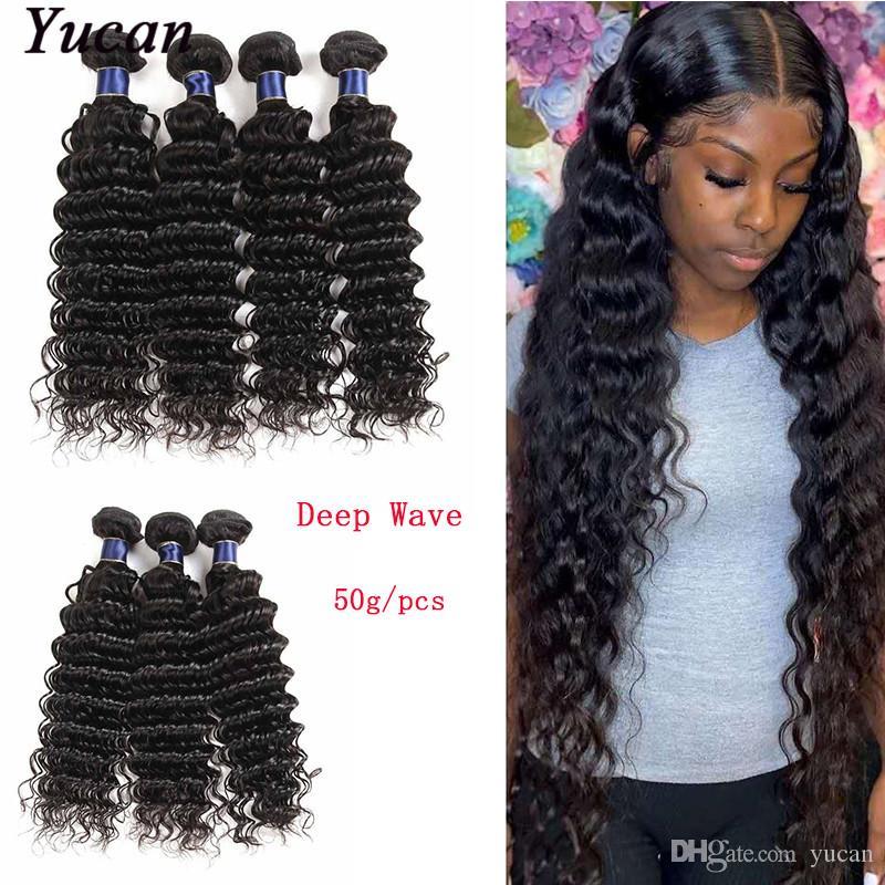 Бразильский Virgin Human ткет волос Пучки глубокая волна Необработанные перуанский Малазийский Индийский глубокая волна Remy наращивание волос 50г / шт