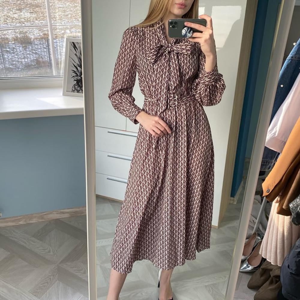 Summer Women Vintage Dress Midi Print Elegant Dress Long Ladies Office Shirt Chiffon Dresses With Belt Bow Empire Waist 2020 New T200318