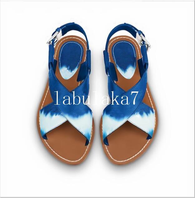 Mode Tie-Dye Sandales femmes Sandales d'été Flats Sexy cheville Bottes Gladiator haut Sandales femme Chaussures femme Flats Casual