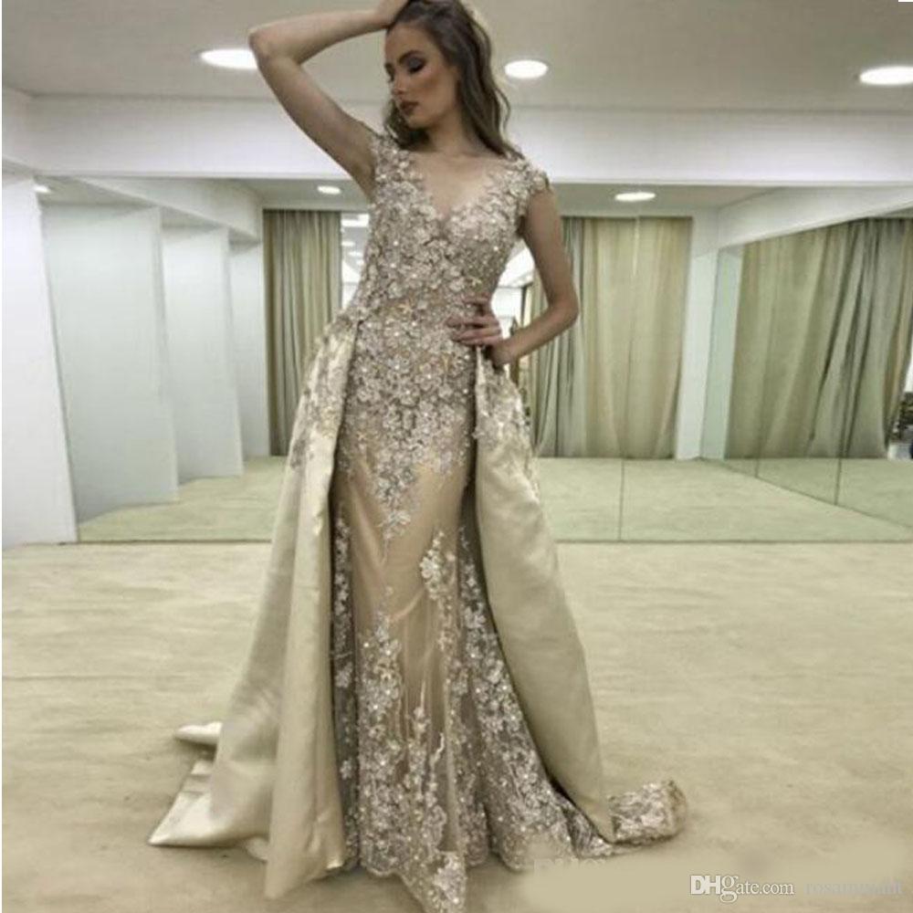 Abendkleider 3D Flor Do Laço Vestidos de Baile com o Trem Destacável Frente Formais Vestidos de Noite Applique Frisado Celebridade Red Carpet Dress