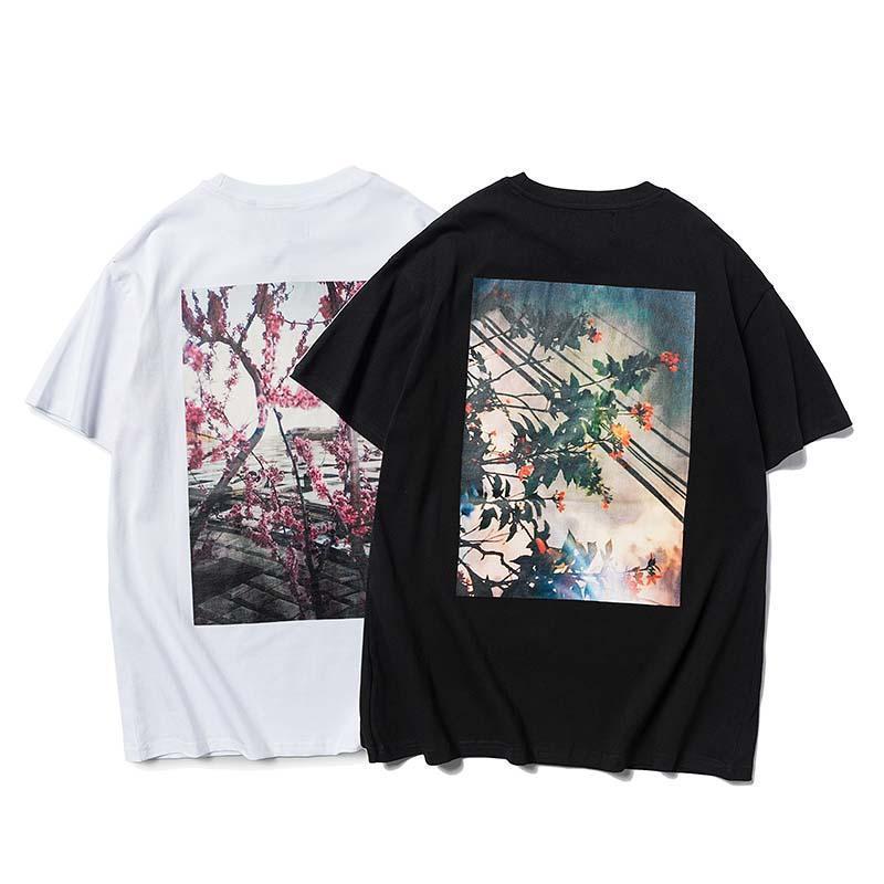 2020 / FOG Beleza Tide camisa Designer de luxo T moda selvagem respirável T-shirts Paisagem Flor de alta qualidade do algodão T-shirt