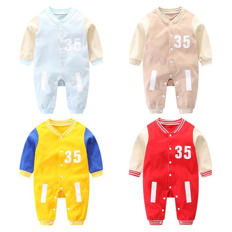 4colors Kinder Brief Strampelhöschen Baby Jungen und Mädchen setzen warme Overalls nette Baumwolle grundiert Babykindkleidung Babykleidung Großhandel BJY834