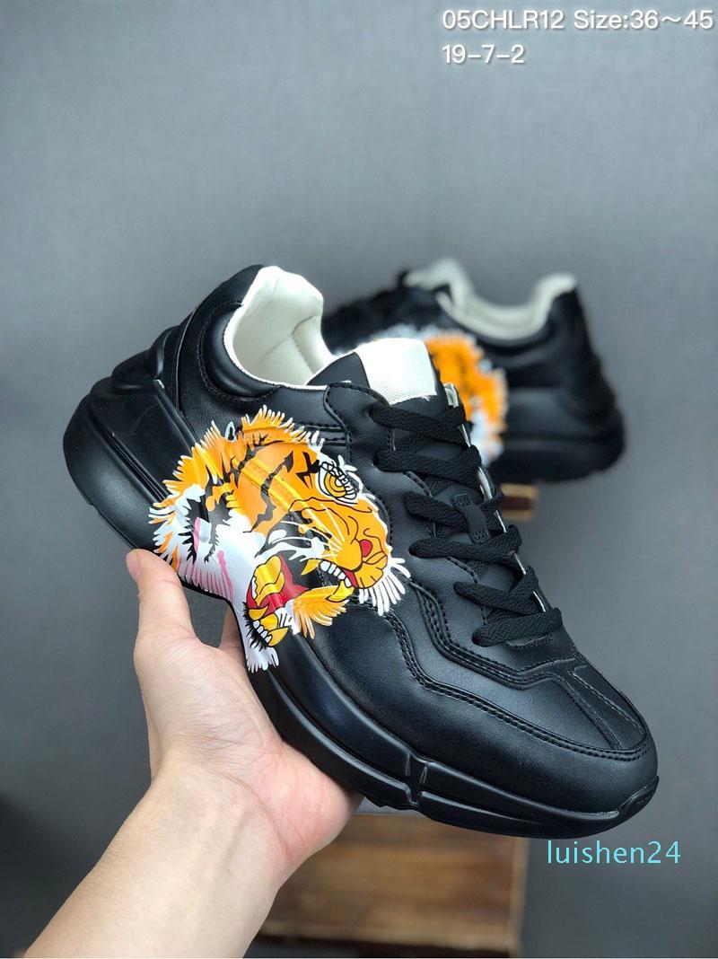 2019 Nouveaux chaussures de marque mens baskets en cuir Rhyton bouche fraise vague impression de tigre femmes Vintage formateur Designer Shoes L24