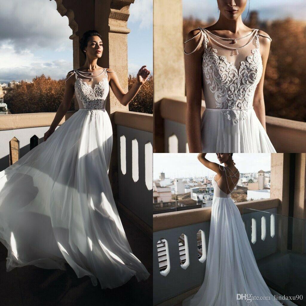 Boho A Line 2019 Beach Wedding Dresses Bridal Gowns A Line Sleeveless Beading Beaded Rhinestone Wedding Gowns Vestido De Novia