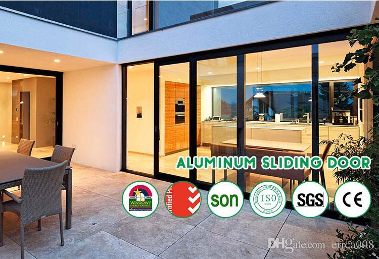 2020 Duplo vidro temperado de alumínio portas de correr preços