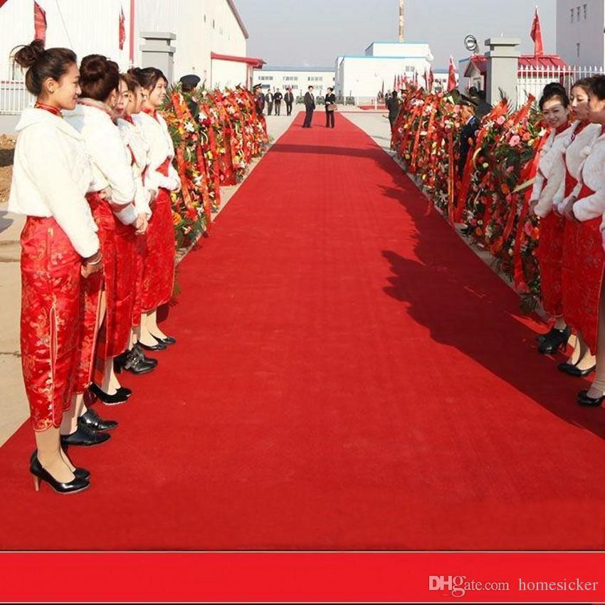 La nueva boda Centros de favores de banquete de boda del rojo tela no tejida de la alfombra de pasillo corredor para los suministros de decoración de disparo Prop 20 metros / rollo