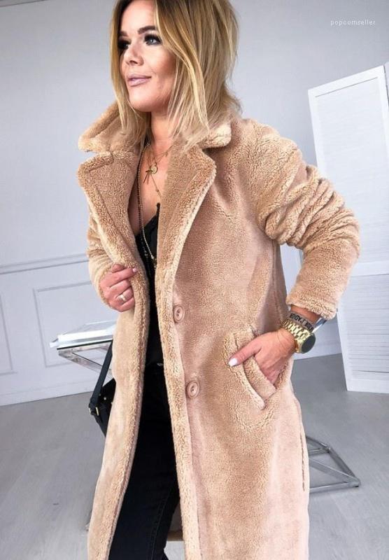 Chaquetas gruesas Cordero sólidos de moda chaqueta solo pecho Coats Paike mujeres calientes