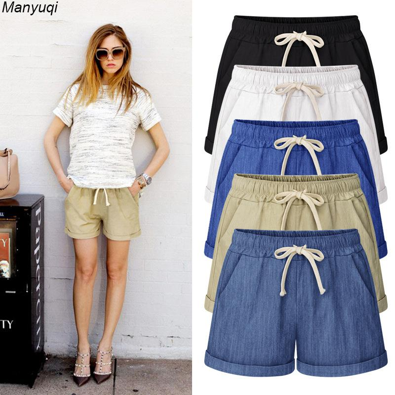 Verão Denim Para Harem Algodão Tamanho Grande Mulheres Shorts Quentes 7 Cores M-7xl C19040901
