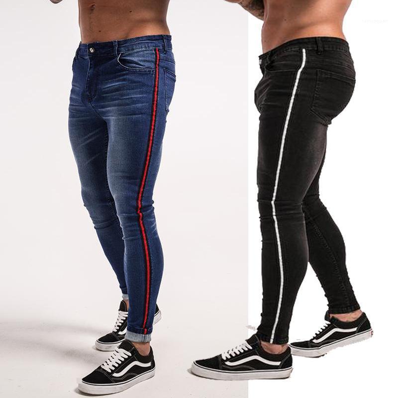 Flaca de los pantalones pantalones para hombre primavera Hiphop Street Jeans Rayado Negro Azul diseño de la cremallera Jean