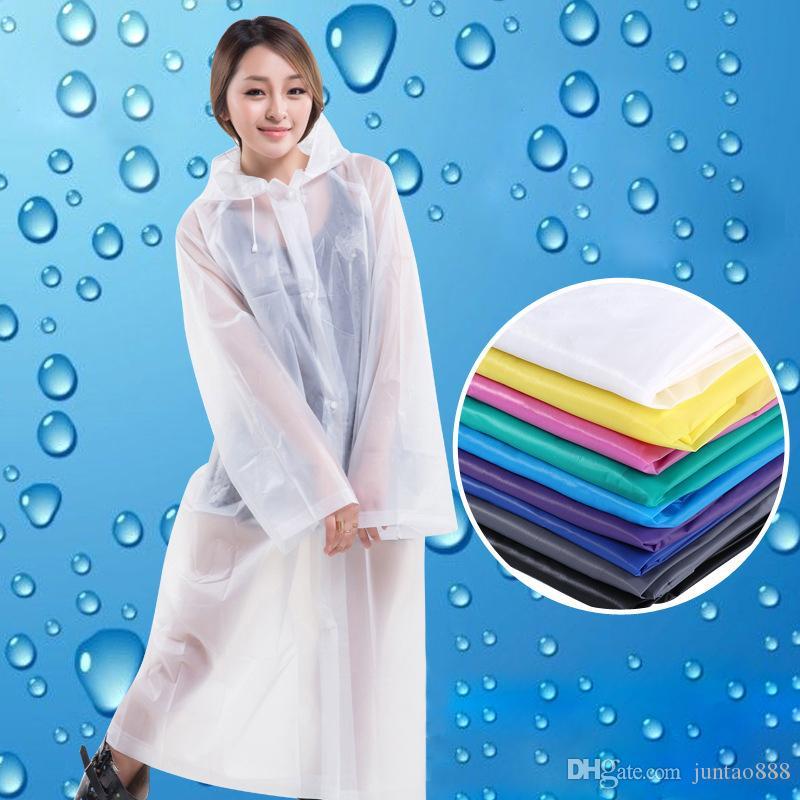 Gezi Açık Trençkotlar Yetişkin Moda Kalınlaşmış Olmayan tek kullanımlık EVA yağmur mont Renkli Rainwear Evrensel Uzun Yüksek kalite yağmurluklar