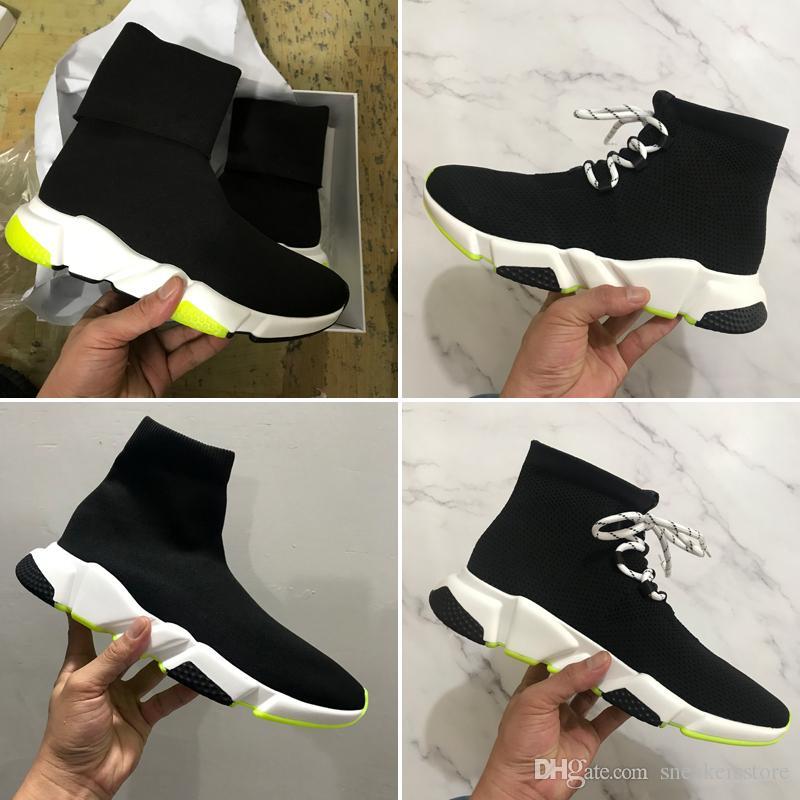 2019 새로운 스피드 트레이너 러너 패션 신발 양말 최고 품질 낮은 Hight 블랙 그린 Oreo 레드 플랫 캐주얼 신발 스포츠 스니커즈 더스트 백