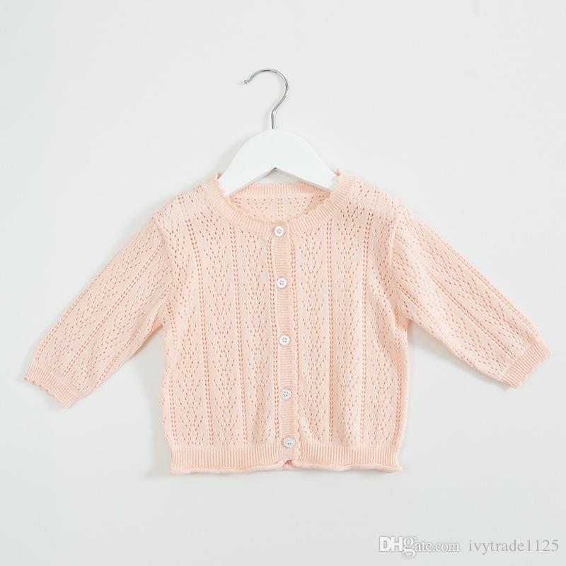 INS bebek çocuk giyim kazak Katı Renk Örme Hırka kazak% 100% Pamuk Butik% 100% pamuk bahar güz Kız kazak