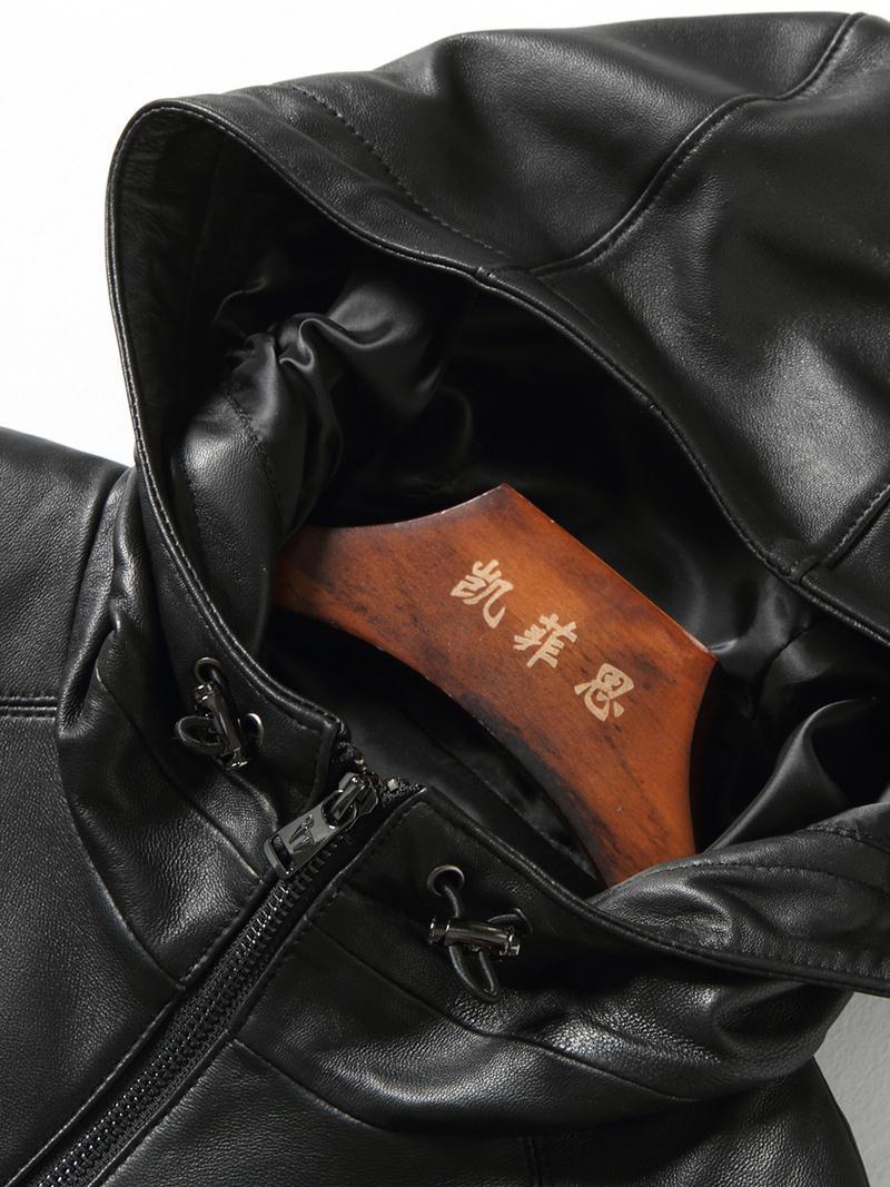 남성 가죽 자켓 후드 양모 코트 정품 가죽 자켓 남성 높은 품질 폭격기 재킷 Chaqueta Cuero 험 브레 KJ2169
