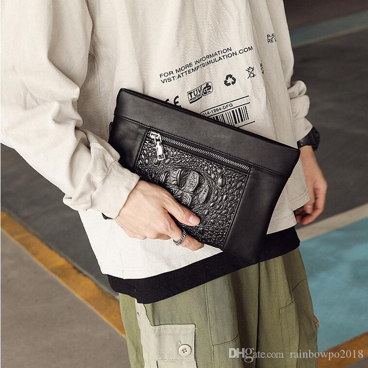 Factory wholesale men handbag fashion crocodile leather business hand clutch street trend leather envelope multifunctional leather storage w