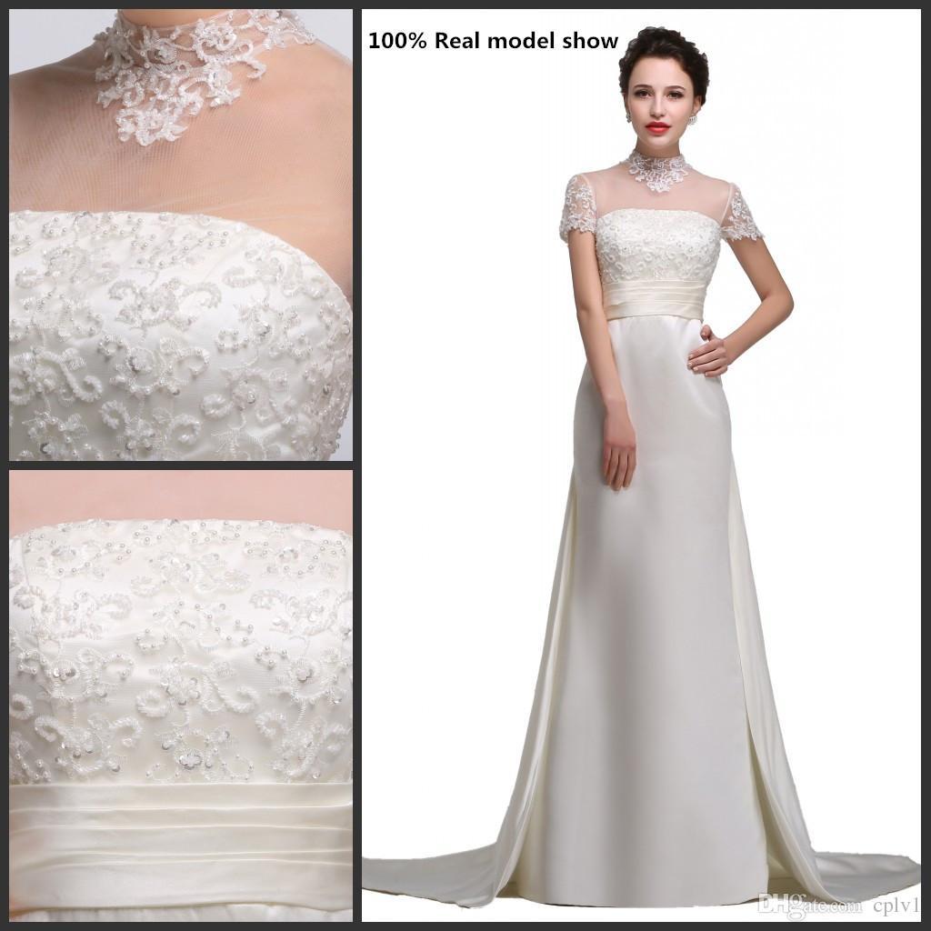 Vestidos de novia de satén con encaje de marfil de alto cuello de cuello vestido de novia a-line Real Pictures Beach Plus Size Wedding Dresse con un tren largo