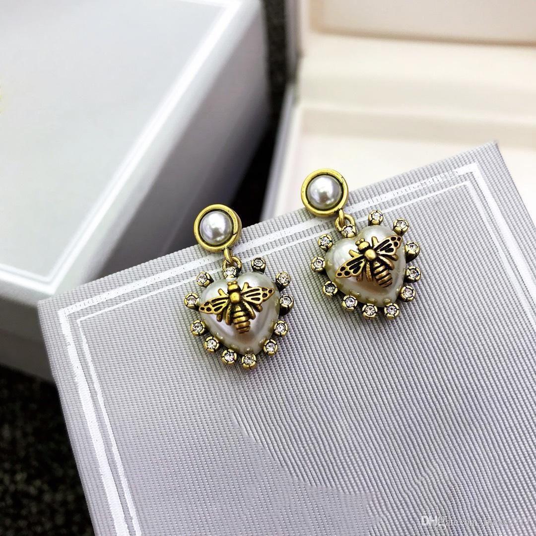 nouveau coeur de perle de couleur blanche de cuivre modèle avec boucles d'oreilles d'abeilles en pierre