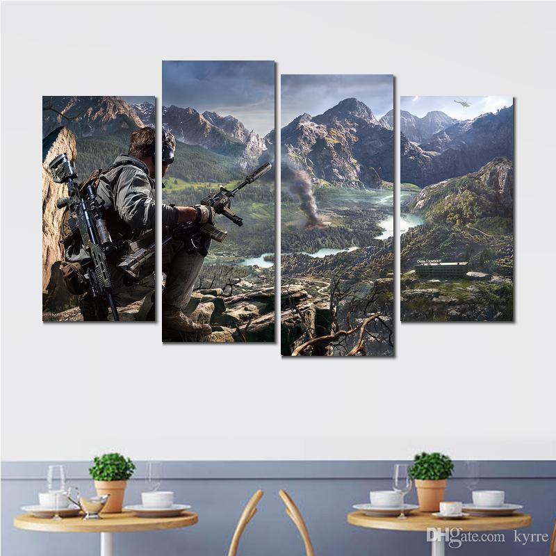 4 panneaux toile impression peinture sniper guerrier fantôme ps xbox moderne décor à la maison image