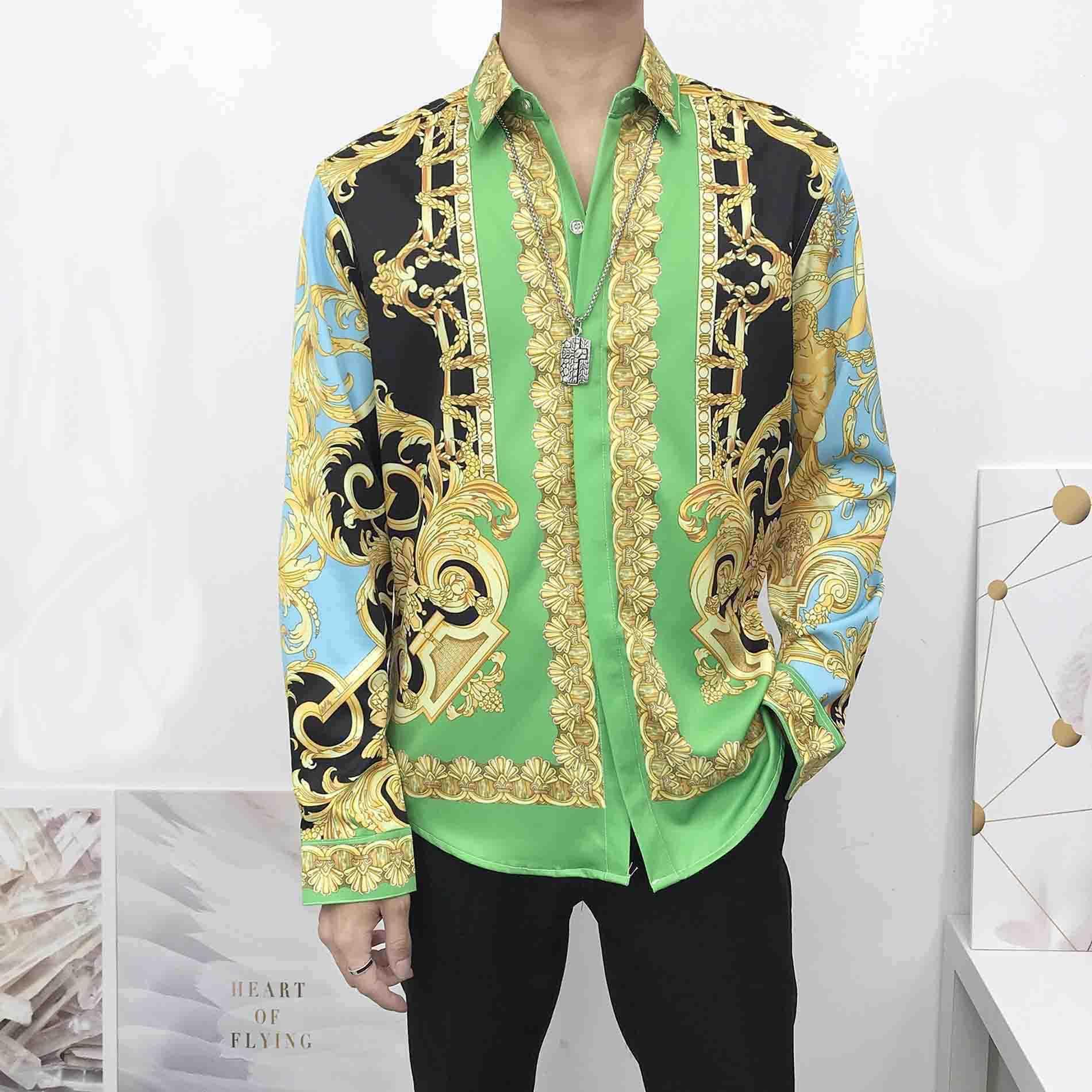chaud Slim Fit Shirt Medusa Mens Ss = 2019 Robe Hommes 3D Golden Floral Shirt à manches longues Business Casual Shirt Vêtements pour hommes 66