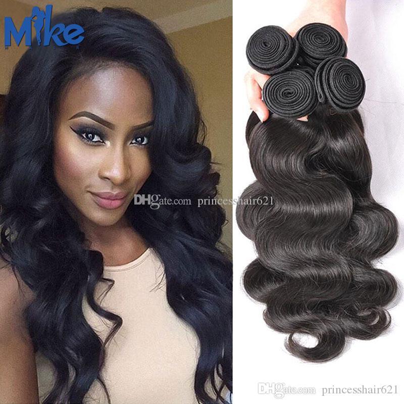 Mikehair Braziliaans Menselijk Haar Groothandel Originele Haar Weave 8-30 inches Onverwerkte Body Wave Peruviaanse Indiase Maleisische haar inslagextensies