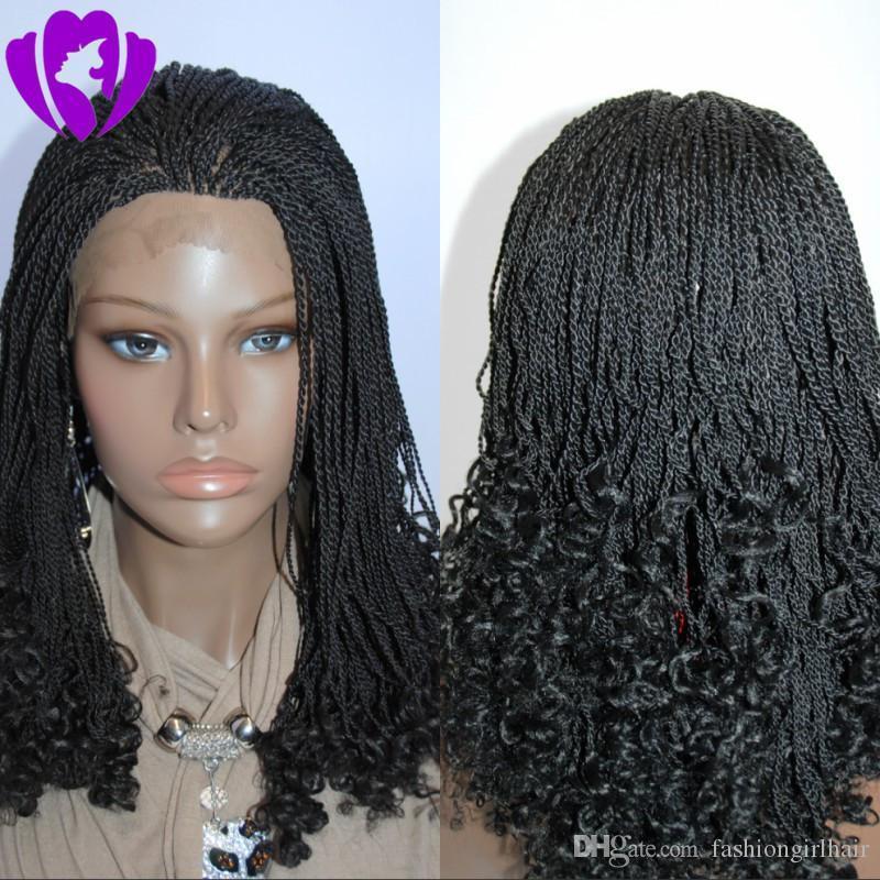 O envio gratuito de estilo curto bob Torção peruca mão amarrada resistente ao calor Synthetic Fiber perucas de cabelo trançado peruca dianteira do laço para as mulheres negras