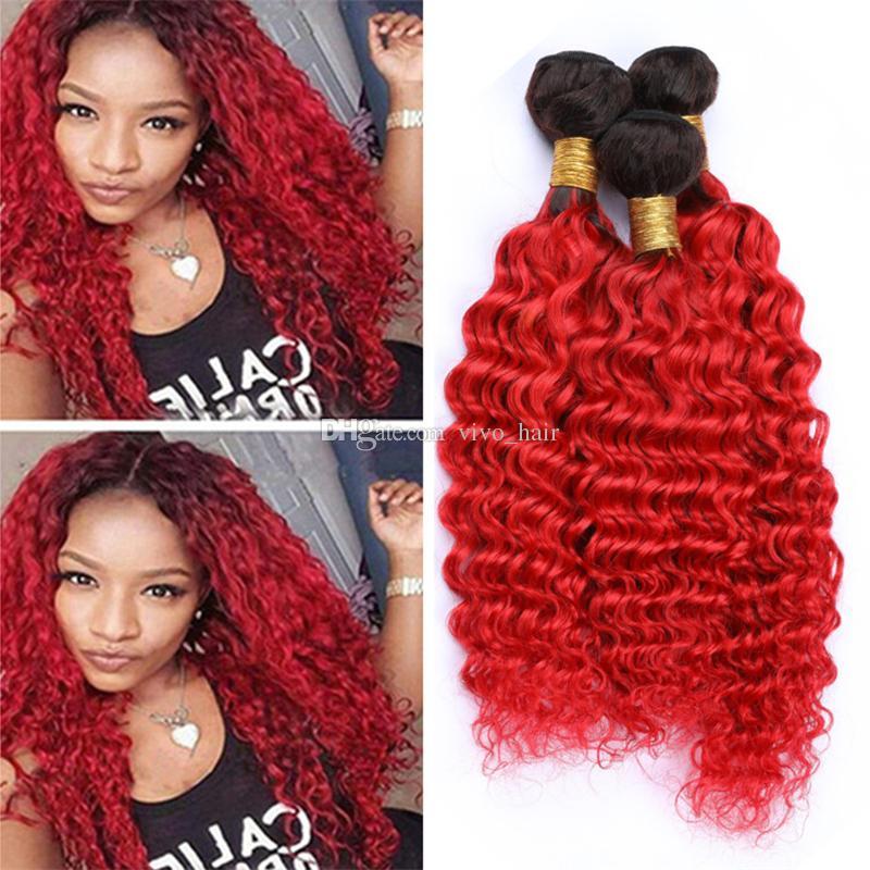 أسود وأحمر أومبير موجة عميقة الإنسان نسج الشعر حزم الجذور الداكنة 1B / الأحمر أومبير عذراء الشعر اللحمات مزدوجة طول مختلطة