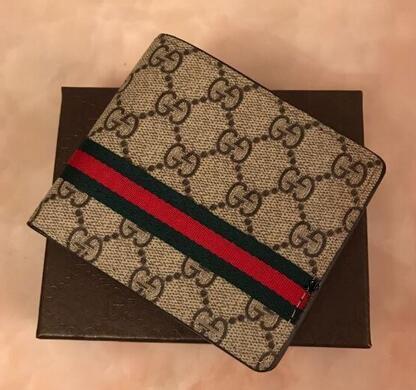 corta carpeta de la moneda monedero corta de los hombres de lujo de diseño de cuero de la PU carpeta de la moneda Monedero Pequeño Manguitos los hombres con el bolso de la caja de polvo RWOQ