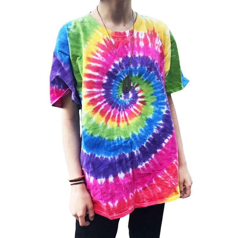 Plegie Batik tişört Unisex 2019 Yaz Hip Hop Yuvarlak Yaka Erkek Düzensiz desen tişörtleri% 100 pamuk Gevşek Tee Gömlek Y200104