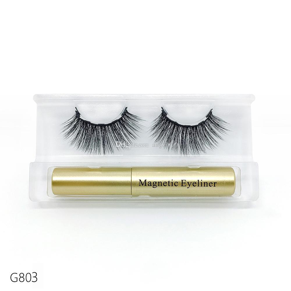 wholesale High quality 2 in 1 5 magnetics eyelashes set with liquid eyeliner 50set