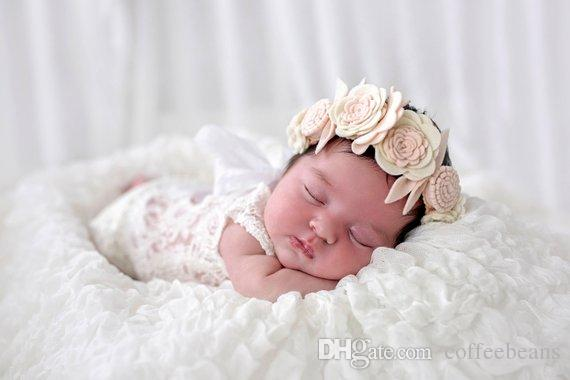 High Quality New Fashion Girl holders hair bobbles bows elastic school boosters headwear Felt Flower headband Baby Headband