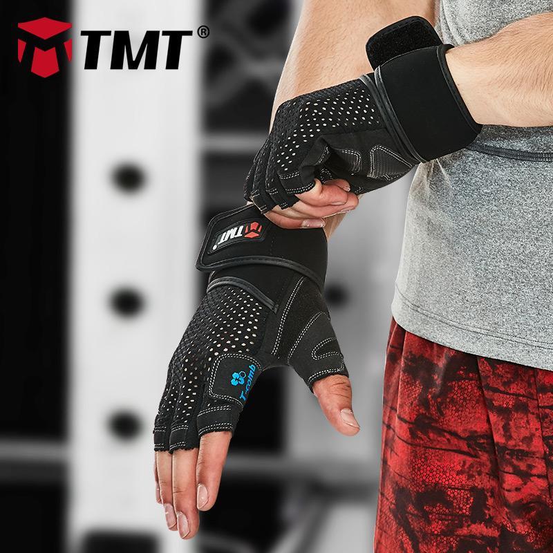Edificio itness Cuerpo Levantamiento de pesas guantes TMT Sport Fitness Gym Hombres Mujeres del levantamiento de pesas pesas Powerlifting Barra Dumbbe ...