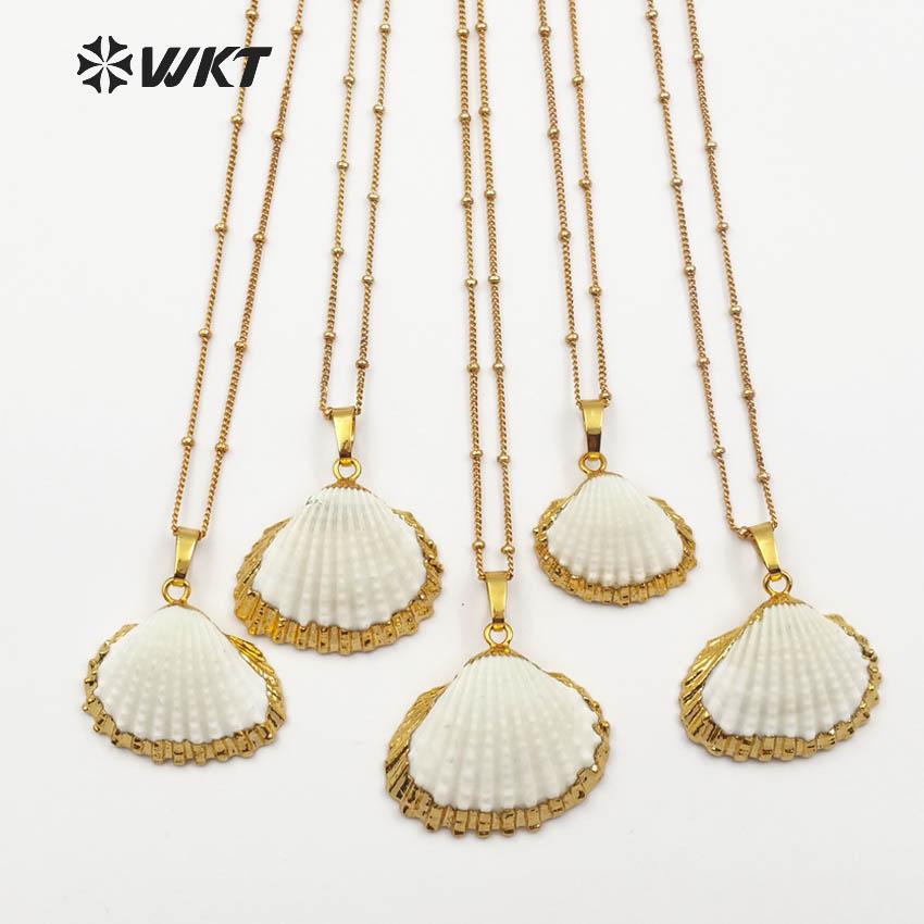 WT-JN014 Latest Design Scallop Shell Necklace natural Scallop pendant shell 18inch gold chain necklace for women perfect gift.