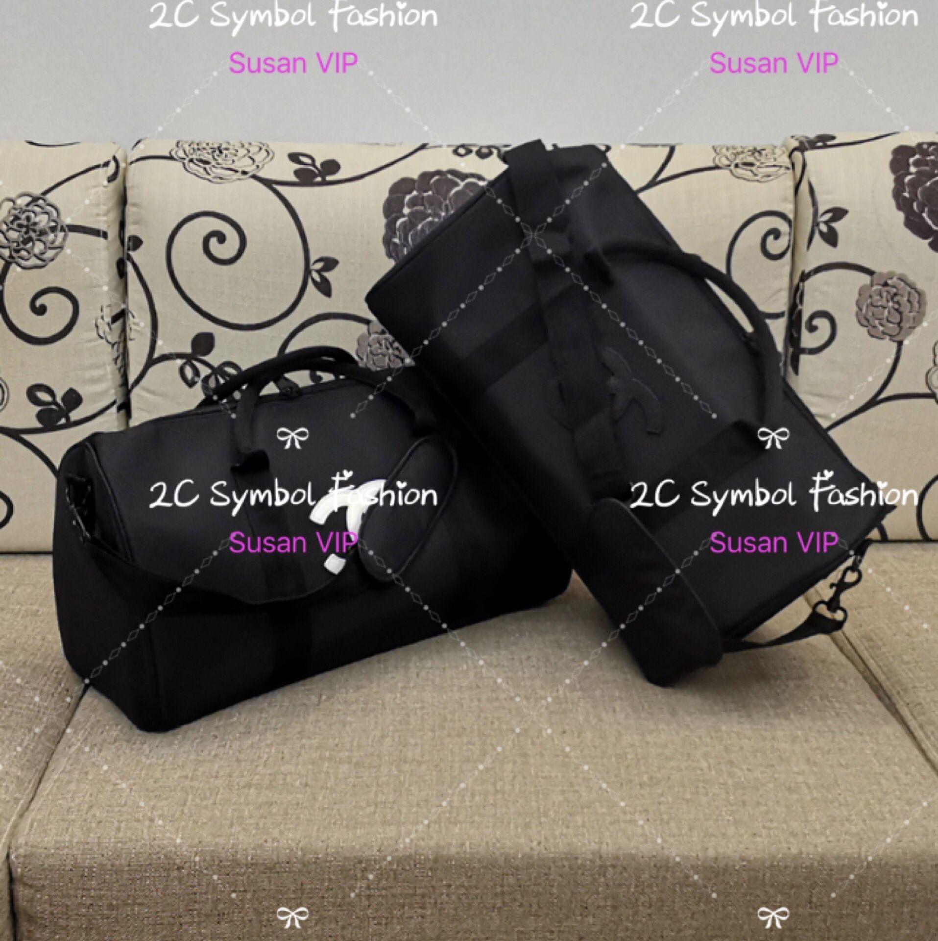 45X25X21Cm ~ bolsa de almacenamiento de lujo de diseño CC fashionquilted lona de asas clásica del recorrido para el deporte o el caso Yago cosmética de maquillaje de almacenamiento VIP