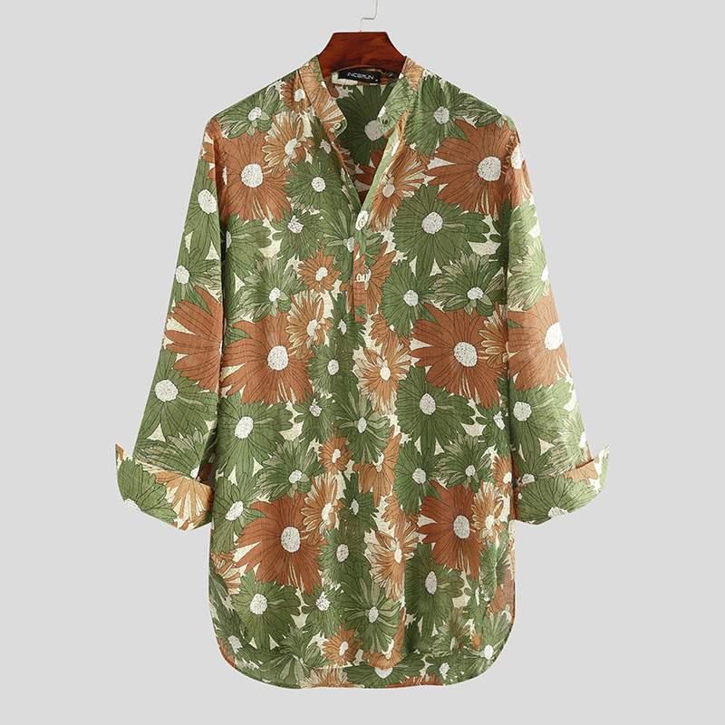 Men Shirt Floral Print Vintage Streetwear 2020 Casual Long Sleeve V Neck Long Style Tops Leisure Men Muslim Clothing INCERUN 5XL