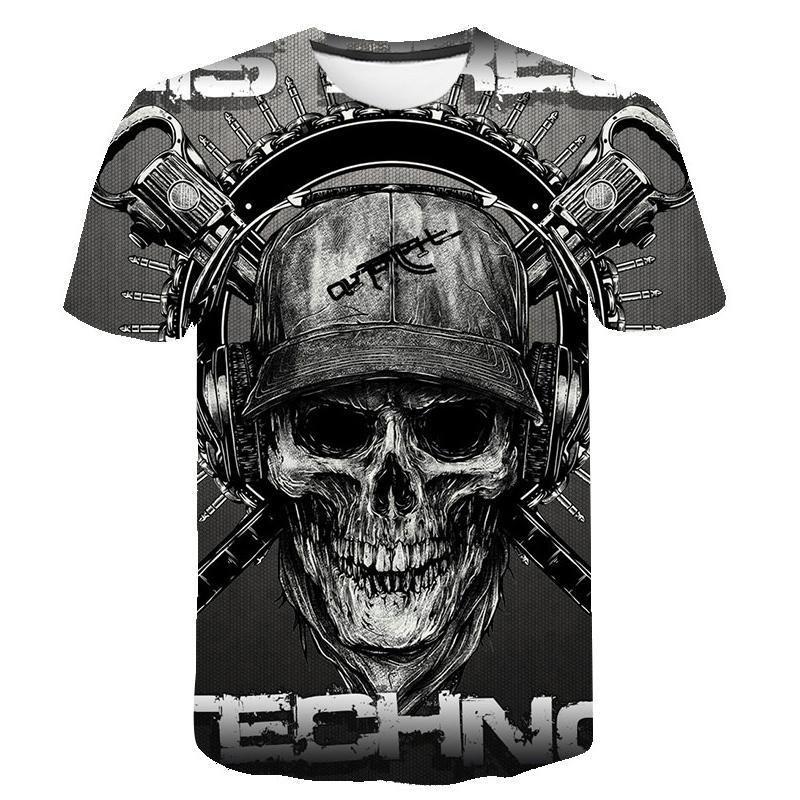 la camiseta del cráneo camisetas Hombres Esqueleto camiseta del punk rock camiseta T pistola de impresión en 3D camiseta de los hombres de la vendimia Ropa de verano tops más el tamaño 6XL
