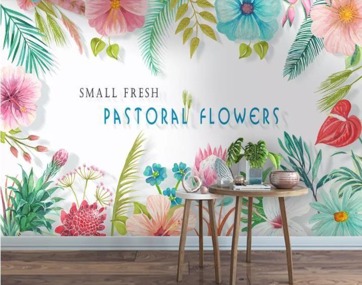 Fondo de pantalla personalizado Pequeño pintado a mano fresco coloreado de flores de fondo pared de la sala dormitorio TV fondo mural 3d papel tapiz