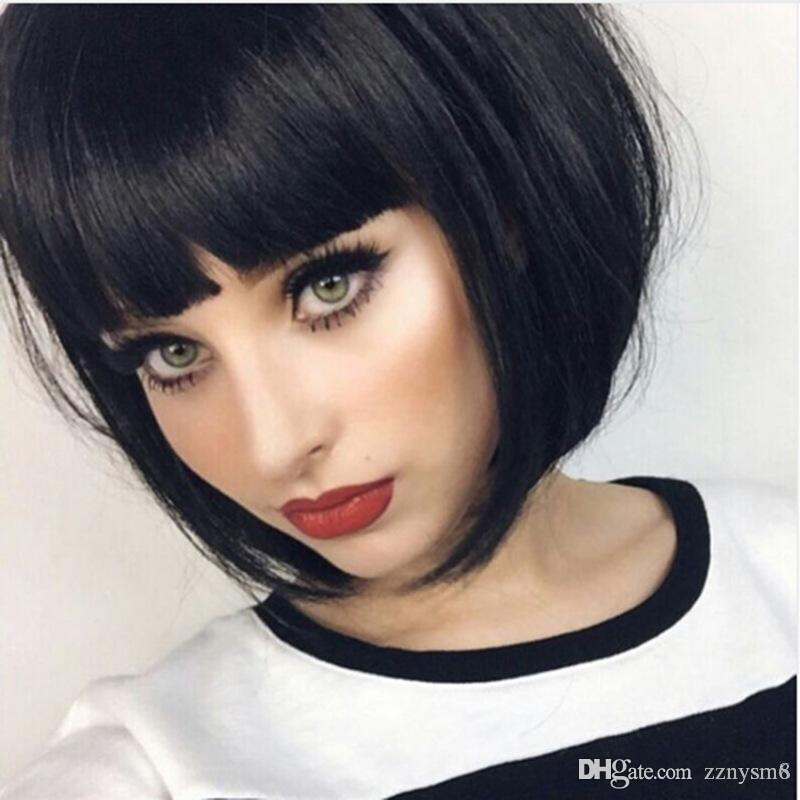 High Quality Full Lace Wig Bob Style Straight Short Halloween Carnival Makeup Party Club Cosplay Human Hair Wig (Color:Black)