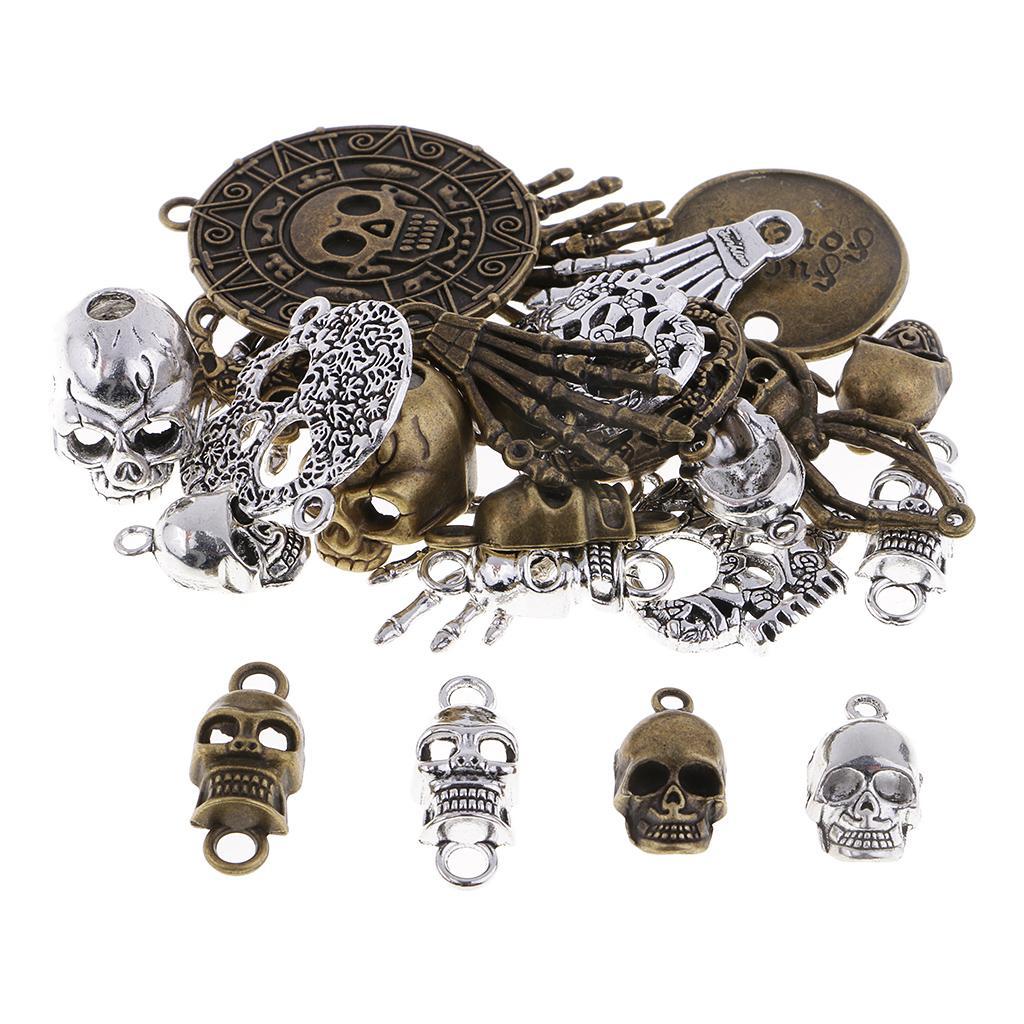 Charms ciondolo scheletro ciondolo teschio anticato a 100 grammi per collana Steampunk fatta a mano Gioielli punk che appendono accessori artigianali