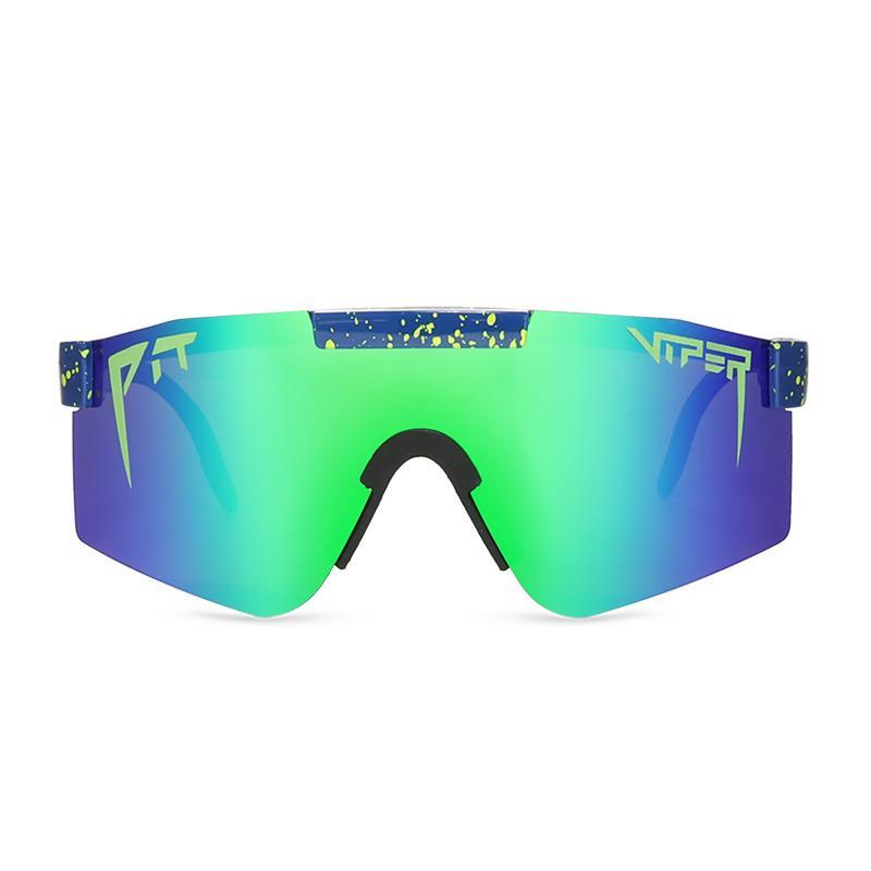 المتطابقة الأخضر عدسة حفرة أفعى النظارات الشمسية الرجال الاستقطاب الرياضة حملق إطار TR90 حماية UV400 مع حالة