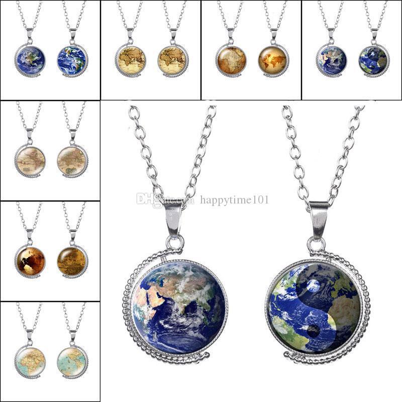 Girevole Double Side Earth World Map Collana Tellurion Time Collana con pietre preziose Collana in vetro cabochon con cupola per le donne