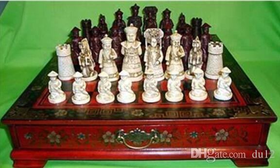 Copper Brass craft decoration bronze factory Pure Brass Antique Chinese Qing Character 32 pieces chess & Leather Wood Box