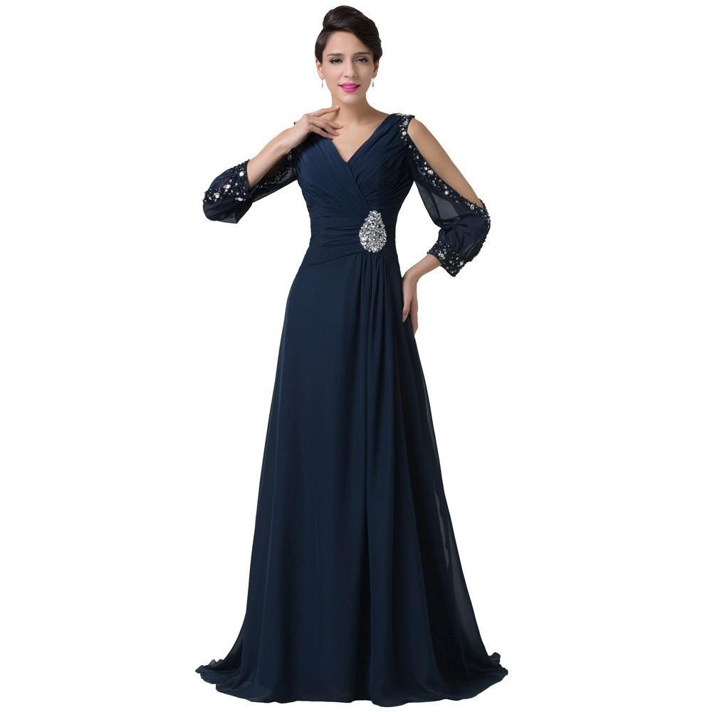 2020 New Grace Karin stock v-neck long sleeve beaded Marine blue chiffon dress sexy without back of a chair mother dress Evening Dresses