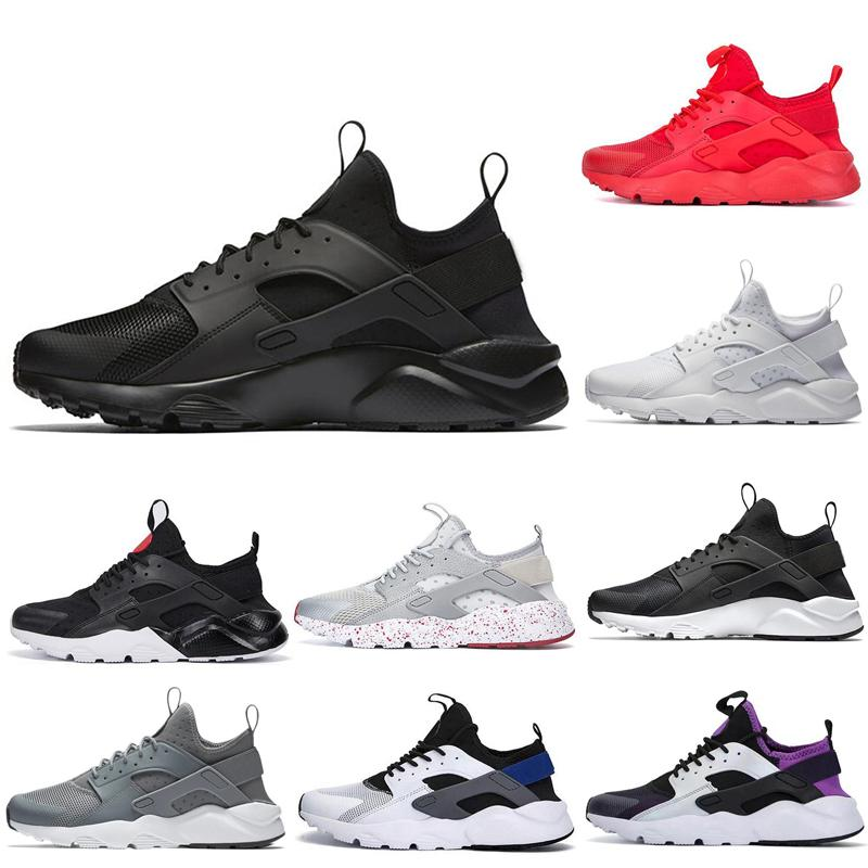 Novo ultra Shoes Huarache 4,0 1,0 Running Shoes Triplo Black Red White Grey Oreo prata para mulheres dos homens instrutor Sports Sapatilhas